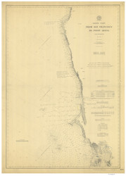 San Francisco to Point Arena 1901 Nautical Map Reprint 5600 California - Big Area 1890s