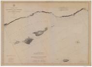 Santa Monica to Point Conception 1882b Nautical Map Reprint 5200 California - Big Area 1890s