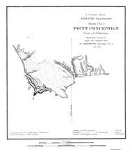 Point Conception 1850 B&W Nautical Map Reprint 5300 California - Big Area 1890s