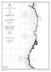 Cape Mendocino to Pt. St. George 1891 B&W Nautical Map Reprint 5800 California - Big Area 1890s