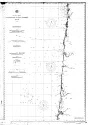 Umpqua River to Cape Lookout 1891 B&W Nautical Map Reprint 6000 Oregon - Big Area 1890s