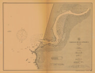 Coquille River Entrance 1908 - Old Map Nautical Chart PC Harbors 5971 - Oregon