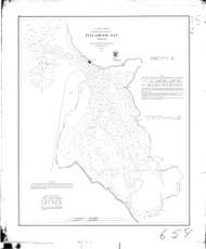 Tillamook Bay 1867 BW A - Old Map Nautical Chart PC Harbors 6112 - Oregon