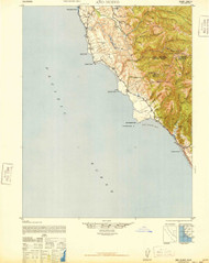 Ano Nuevo, California 1942 (1948) USGS Old Topo Map 15x15 Quad