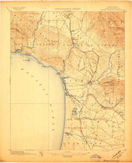 Arroyo Grande, California 1897 (1897) USGS Old Topo Map 15x15 Quad