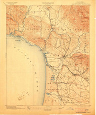 Arroyo Grande, California 1897 (1903) USGS Old Topo Map 15x15 Quad