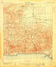 Calabasas, California 1903 (1913) USGS Old Topo Map 15x15 Quad