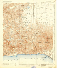 Calabasas, California 1903 (1937) USGS Old Topo Map 15x15 Quad