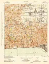 Calabasas, California 1944 (1944) USGS Old Topo Map 15x15 Quad