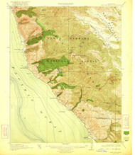Cape San Martin, California 1921 (1921) USGS Old Topo Map 15x15 Quad