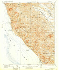 Cape San Martin, California 1921 (1932) USGS Old Topo Map 15x15 Quad