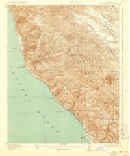 Cape San Martin, California 1921 (1940) USGS Old Topo Map 15x15 Quad