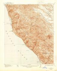 Cape San Martin, California 1921 (1944) USGS Old Topo Map 15x15 Quad