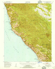 Cape San Martin, California 1948 (1955) USGS Old Topo Map 15x15 Quad