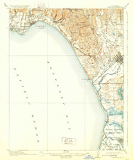 Capitola, California 1914 (1929) USGS Old Topo Map 15x15 Quad