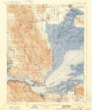 Carquinez, California 1901 (1943) USGS Old Topo Map 15x15 Quad