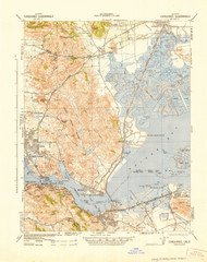 Carquinez, California 1942 (1942) USGS Old Topo Map 15x15 Quad