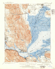 Carquinez Stait, California 1896 (1954) USGS Old Topo Map 15x15 Quad