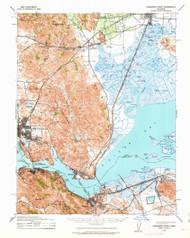 Carquinez Stait, California 1940 (1963) USGS Old Topo Map 15x15 Quad