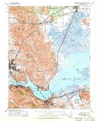 Carquinez Stait, California 1940 (1965) USGS Old Topo Map 15x15 Quad