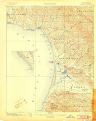 Cayucos, California 1897 (1903) USGS Old Topo Map 15x15 Quad