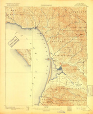 Cayucos, California 1897 (1917) USGS Old Topo Map 15x15 Quad