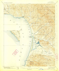 Cayucos, California 1897 (19223) USGS Old Topo Map 15x15 Quad