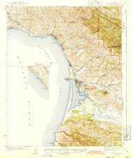 Cayucos, California 1943 (1943) USGS Old Topo Map 15x15 Quad