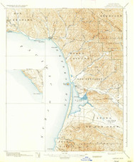 Cayucos, California 1897 (1937) USGS Old Topo Map 15x15 Quad