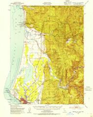 Crescent City, California 1952 (1954) USGS Old Topo Map 15x15 Quad