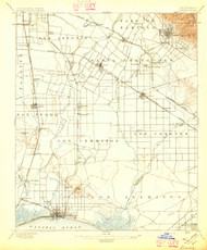 Downey, California 1896 (1896) USGS Old Topo Map 15x15 Quad