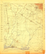 Downey, California 1899 (1899) USGS Old Topo Map 15x15 Quad