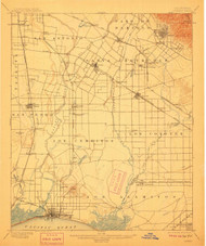Downey, California 1902 (1911) USGS Old Topo Map 15x15 Quad