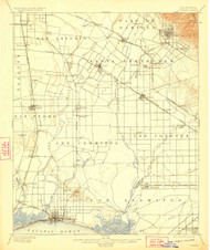 Downey, California 1902 (1923) USGS Old Topo Map 15x15 Quad