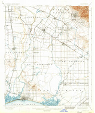 Downey, California 1902 (1934) USGS Old Topo Map 15x15 Quad