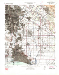 Downey, California 1942 (1942) USGS Old Topo Map 15x15 Quad