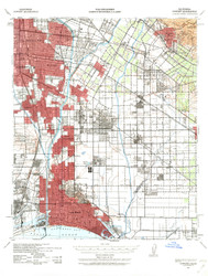 Downey, California 1943 (1963a) USGS Old Topo Map 15x15 Quad