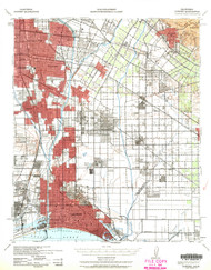 Downey, California 1943 (1963b) USGS Old Topo Map 15x15 Quad