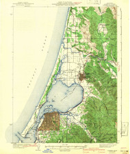 Eureka, California 1942 (1942) USGS Old Topo Map 15x15 Quad