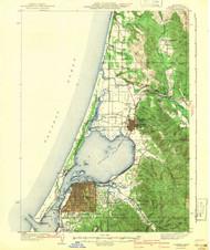 Eureka, California 1942 (1942) USGS Old Topo Map 15x15 Quad