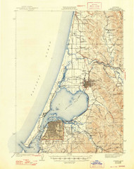 Eureka, California 1942 (1948) USGS Old Topo Map 15x15 Quad