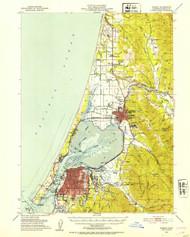 Eureka, California 1951 (1953a) USGS Old Topo Map 15x15 Quad