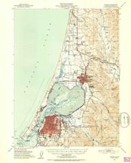 Eureka, California 1951 (1953b) USGS Old Topo Map 15x15 Quad