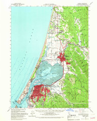Eureka, California 1959 (1966) USGS Old Topo Map 15x15 Quad