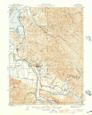 Fortuna, California 1944 (1944a) USGS Old Topo Map 15x15 Quad