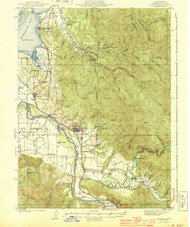 Fortuna, California 1944 (1944b) USGS Old Topo Map 15x15 Quad