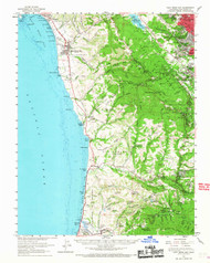 Halfmoon Bay, California 1961 (1967) USGS Old Topo Map 15x15 Quad