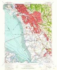 Haywards, California 1959 (1961) USGS Old Topo Map 15x15 Quad