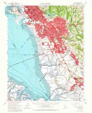 Haywards, California 1959 (1966) USGS Old Topo Map 15x15 Quad