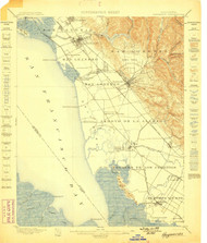 Haywards, California 1899 (1899) USGS Old Topo Map 15x15 Quad